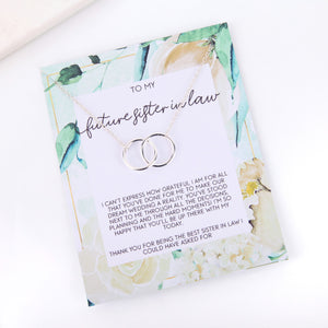 Personalised floral future sister in law proposal card necklace gift