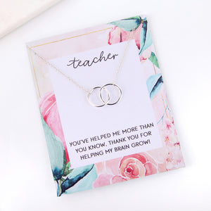 Personalised floral thank you teacher appreciation card necklace gift