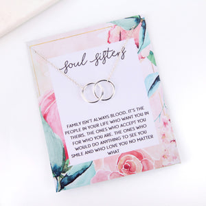 Personalised floral soul sisters card necklace gift