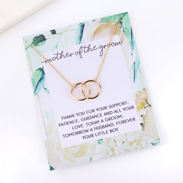 Personalised floral mother of the groom card necklace gift