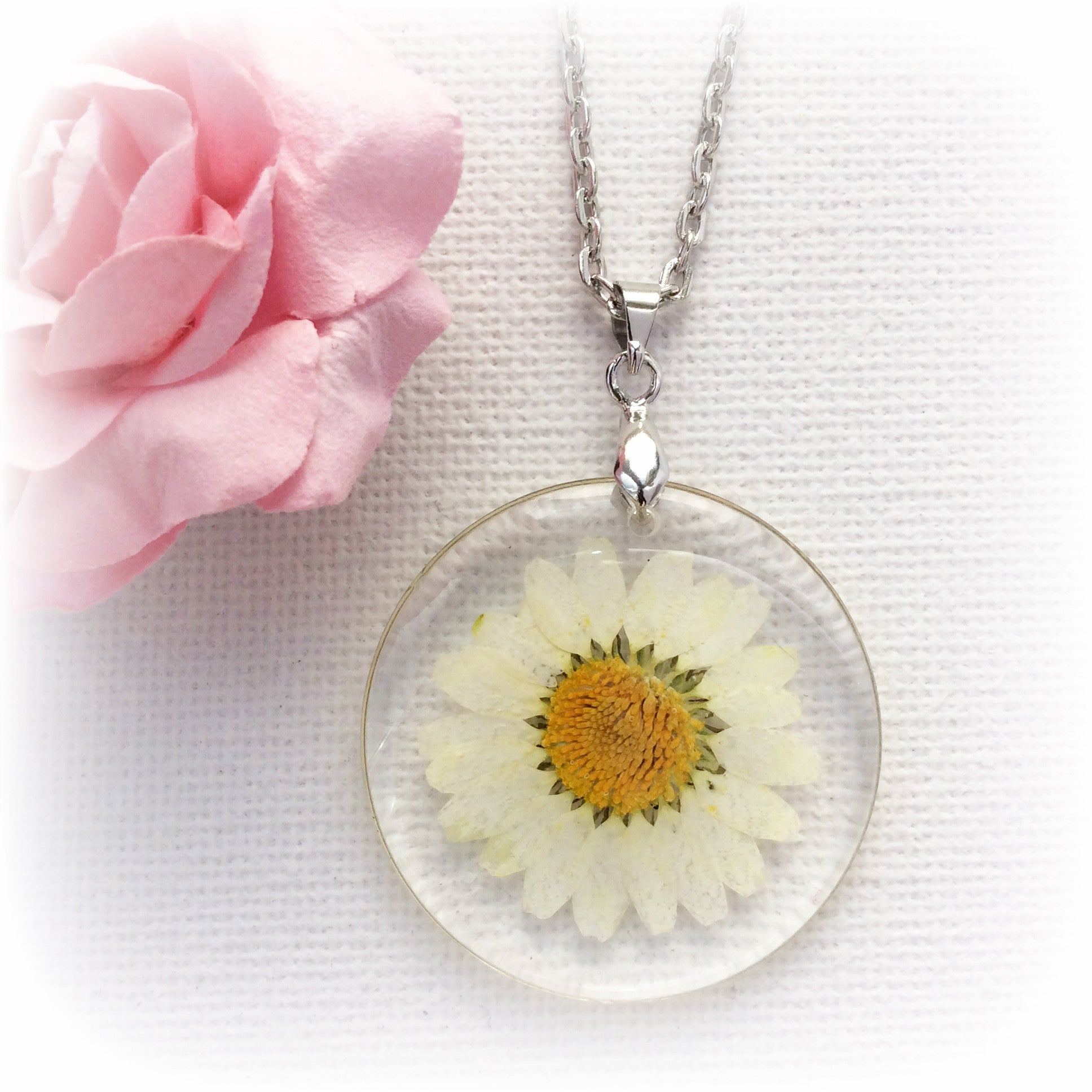 Real white daisy necklace, transparent summer flower necklace. - Statement Made Jewellery