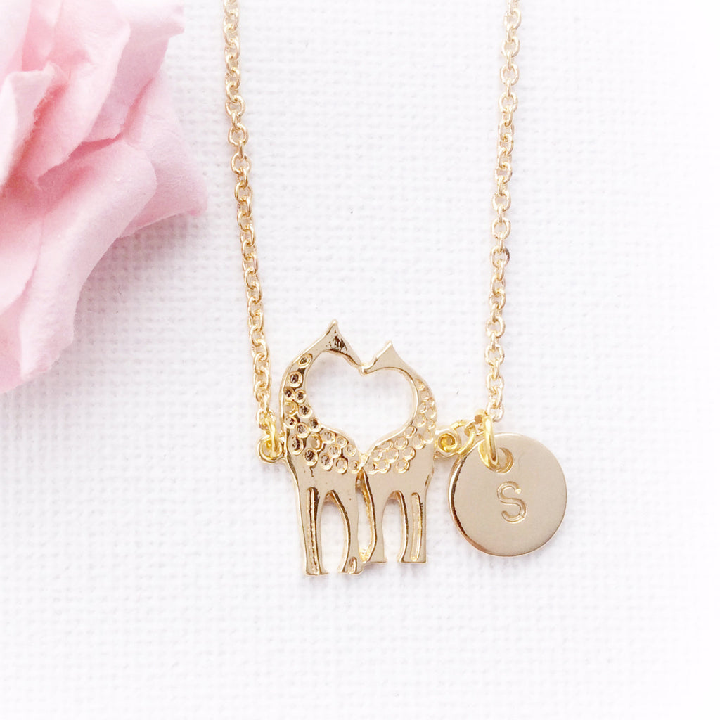 Gold Filled Giraffe necklace, initial charm custom necklace , Dress Necklaces - Statement Made Jewellery, Statement Made Jewellery  - 1