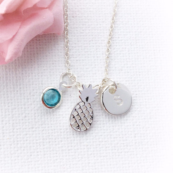 Silver pineapple and birthstone necklace - Statement Made Jewellery