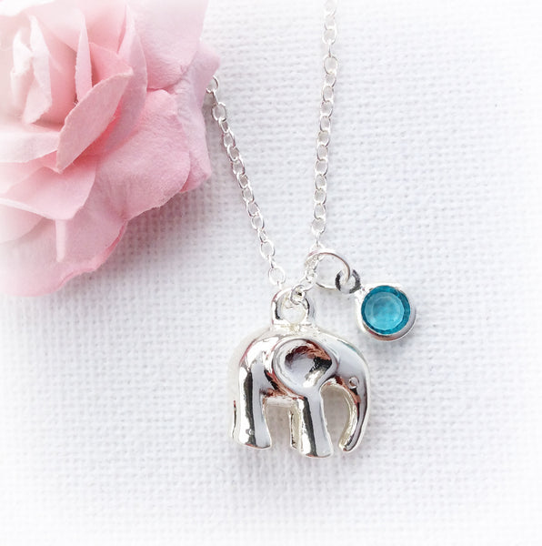 Silver elephant necklace, birthstone personalised custom necklace, , Dress Necklaces - Statement Made Jewellery, Statement Made Jewellery  - 1