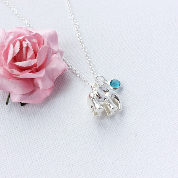 Silver elephant necklace, birthstone personalised custom necklace, , Dress Necklaces - Statement Made Jewellery, Statement Made Jewellery  - 3