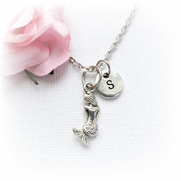Silver searching mermaid and initial necklace - Statement Made Jewellery