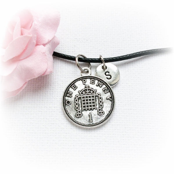 Silver lucky penny and initial necklace - Statement Made Jewellery