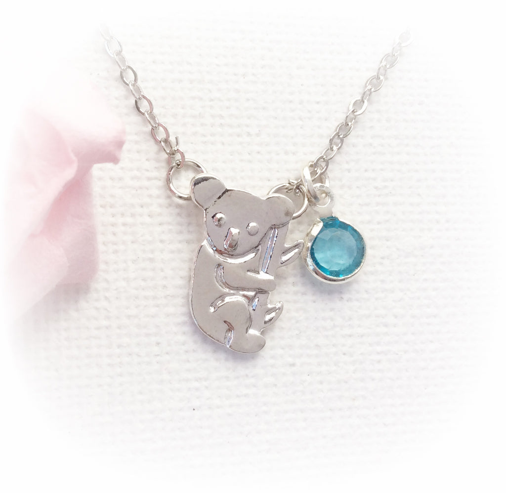 Silver koala necklace, koala necklace, personalised necklace, birthstone charm custom necklace , Dress Necklaces - Statement Made Jewellery, Statement Made Jewellery  - 1