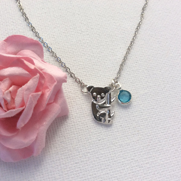 Silver koala necklace, koala necklace, personalised necklace, birthstone charm custom necklace , Dress Necklaces - Statement Made Jewellery, Statement Made Jewellery  - 3