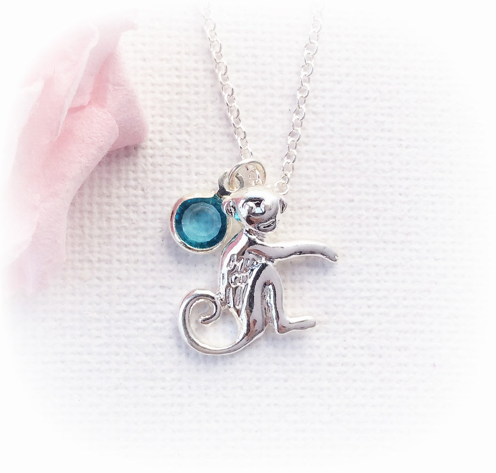 Silver monkey necklace, birthstone charm custom necklace , Dress Necklaces - Statement Made Jewellery, Statement Made Jewellery  - 1