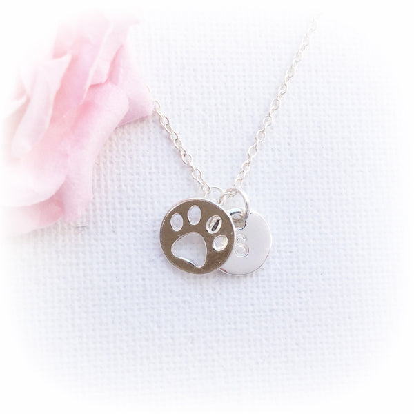 Silver pawprint and initial necklace - Statement Made Jewellery