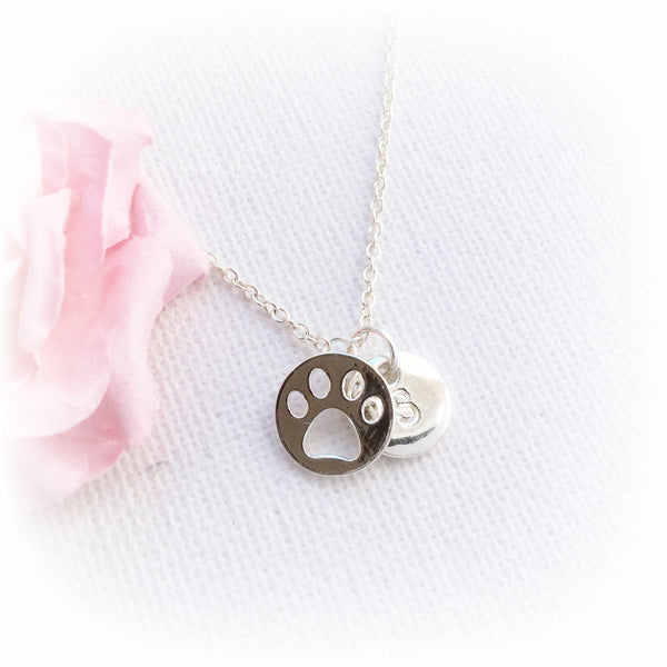 Silver pawprint necklace, initial charm custom necklace , Dress Necklaces - Statement Made Jewellery, Statement Made Jewellery  - 2