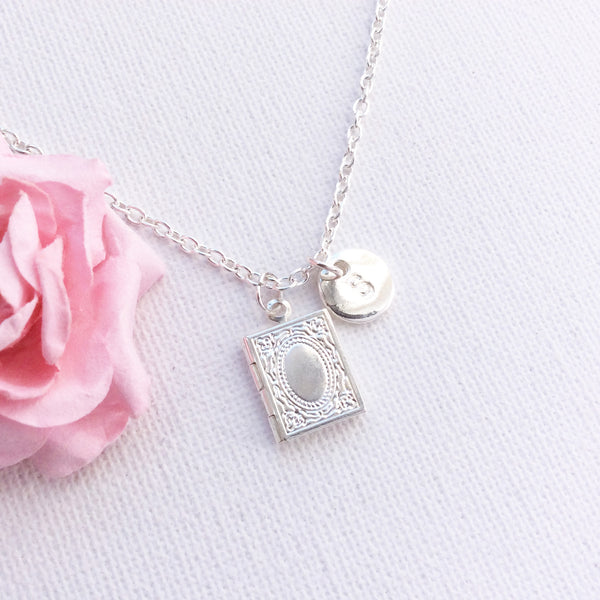 Silver book locket necklace, locket necklace, personalised jewellery, charm necklace, initial charm custom necklace SPLocKIIN01 , Dress Necklaces - Statement Made Jewellery, Statement Made Jewellery  - 3