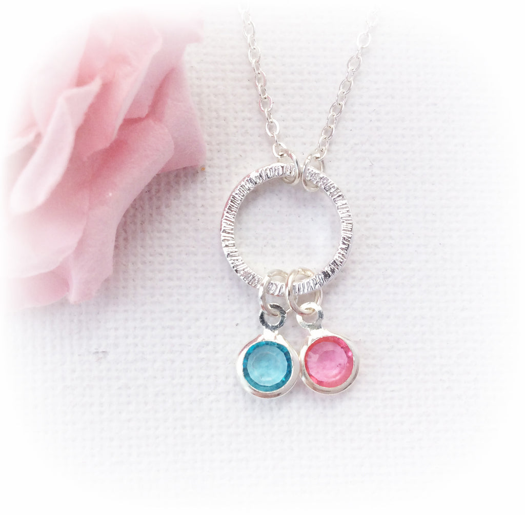 Silver circle duo birthstone necklace,birthstone charm custom necklace , Dress Necklaces - Statement Made Jewellery, Statement Made Jewellery  - 1