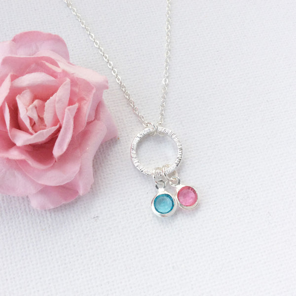 Silver circle duo birthstone necklace,birthstone charm custom necklace , Dress Necklaces - Statement Made Jewellery, Statement Made Jewellery  - 2