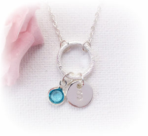 Silver circle initial and birthstone necklace - Statement Made Jewellery