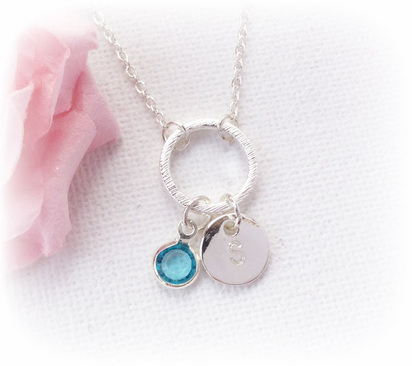 Silver circle initial and birthstone necklace, initial and birthstone charm custom necklace , Dress Necklaces - Statement Made Jewellery, Statement Made Jewellery  - 2