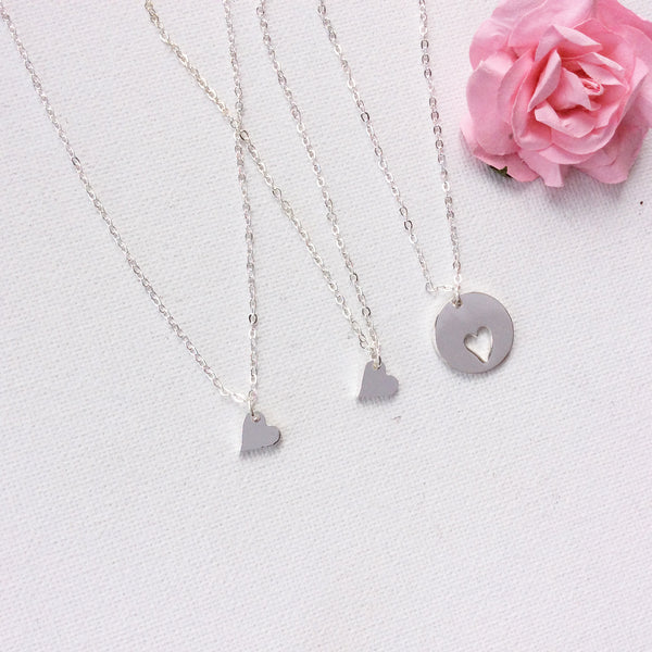Silver Mother and daughters silver heart necklaces - Statement Made Jewellery