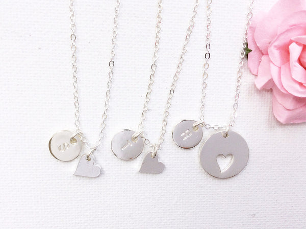 Silver Mother and daughters with initials necklace - Statement Made Jewellery