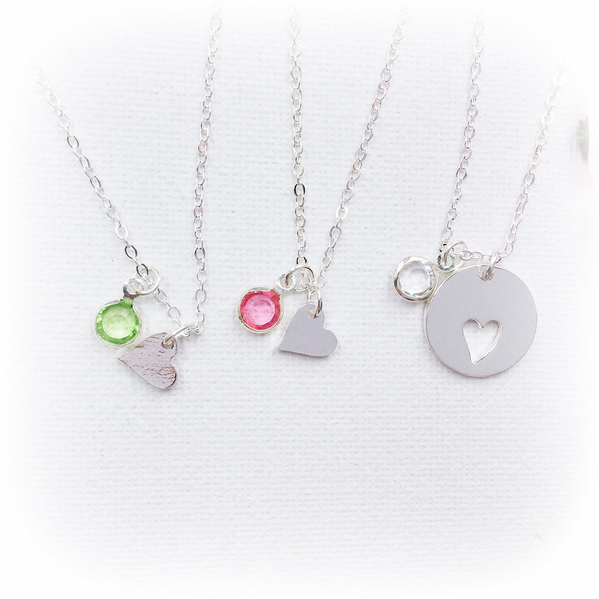 Silver Mother and daughter and birthstone necklace mum and two daughters necklace - Statement Made Jewellery