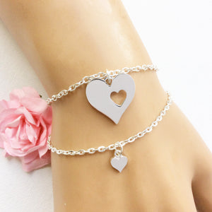 Silver Mother and daughter heart bracelet set of two - Statement Made Jewellery