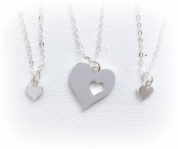 Silver Mother and daughter necklace, mum and two daughters necklace, mother necklace, heart necklace, SPheartMDN2 , Dress Necklaces - Statement Made Jewellery, Statement Made Jewellery  - 1
