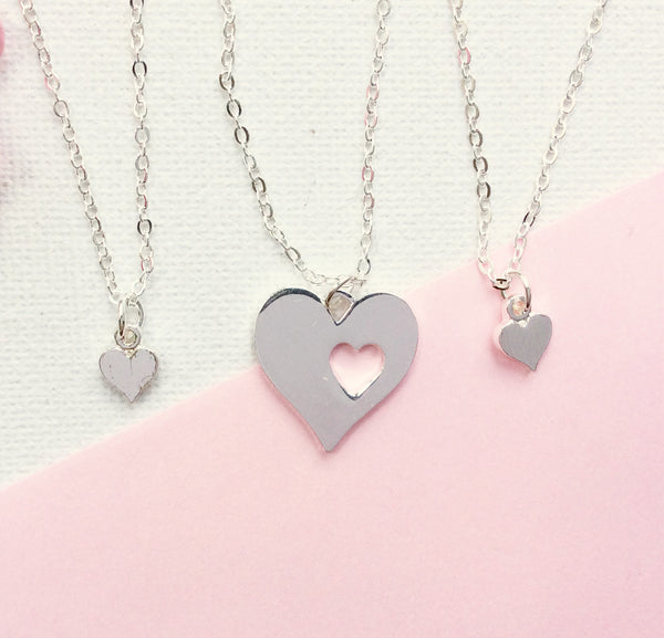 Silver Mother and daughter necklace, mum and two daughters necklace, mother necklace, heart necklace, SPheartMDN2 , Dress Necklaces - Statement Made Jewellery, Statement Made Jewellery  - 3