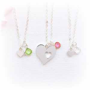 Silver heart mother and two daughters birthstone necklaces - Statement Made Jewellery