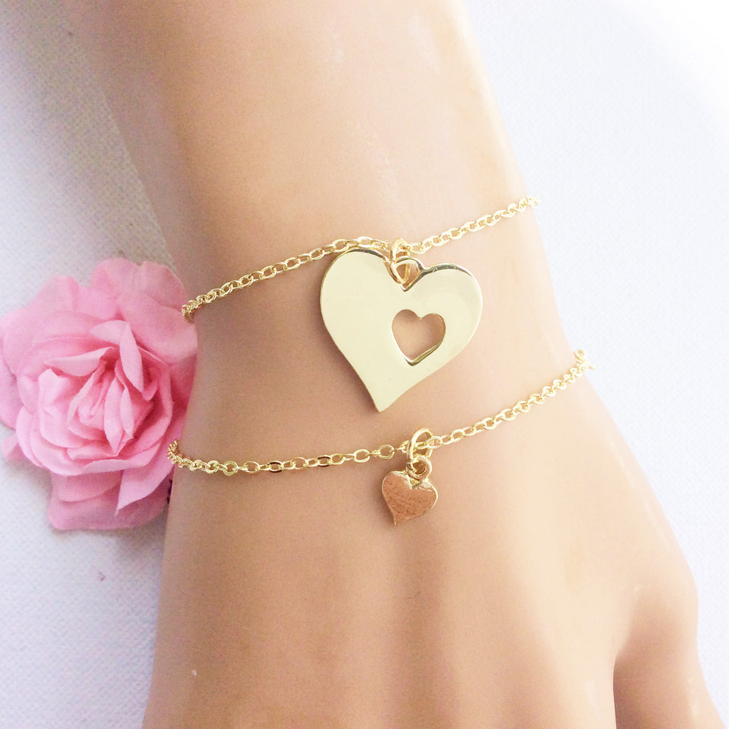 Gold Mother and daughter heart bracelet - Statement Made Jewellery