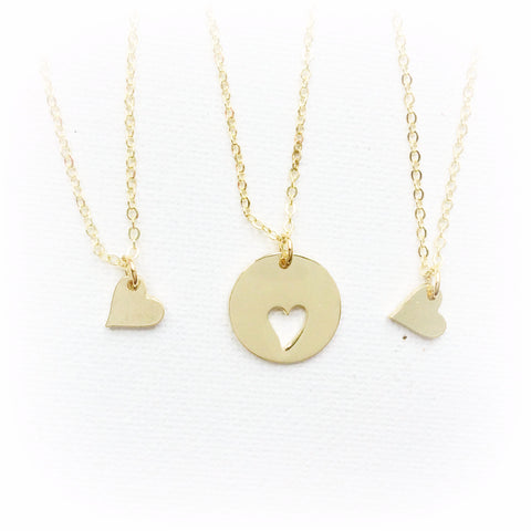 Gold Mother and daughter necklace, mum and two daughter necklace, mother necklace, heart necklace, GProundMDN3 , Dress Necklaces - Statement Made Jewellery, Statement Made Jewellery  - 1