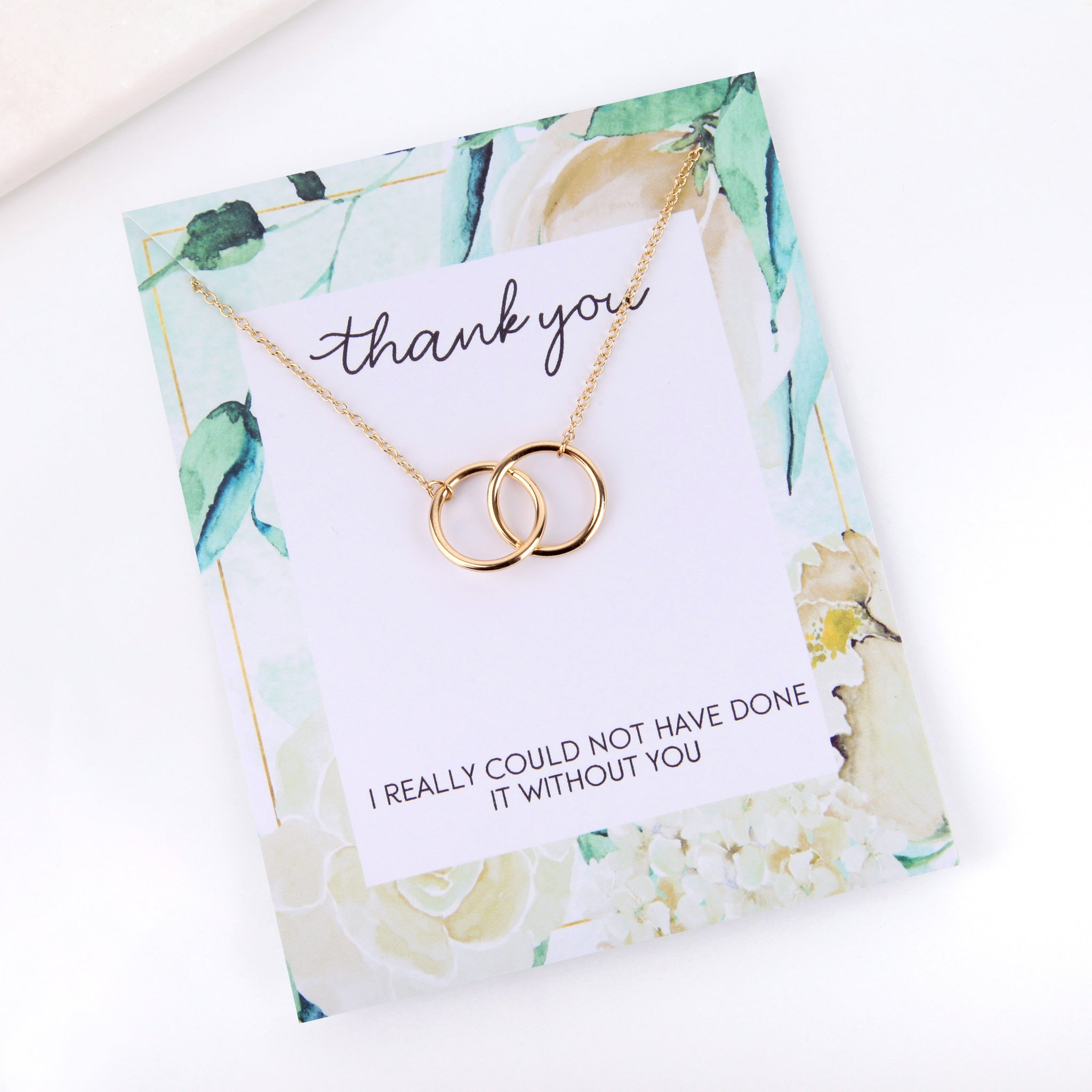Personalised floral thank you card necklace gift - Statement Made Jewellery