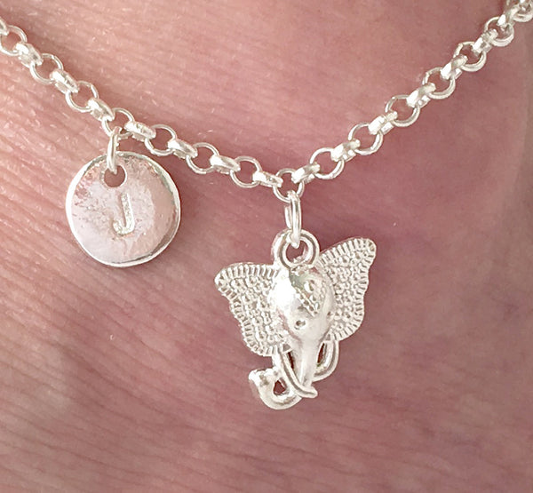 Silver personalised initial elephant Anklet - Statement Made Jewellery