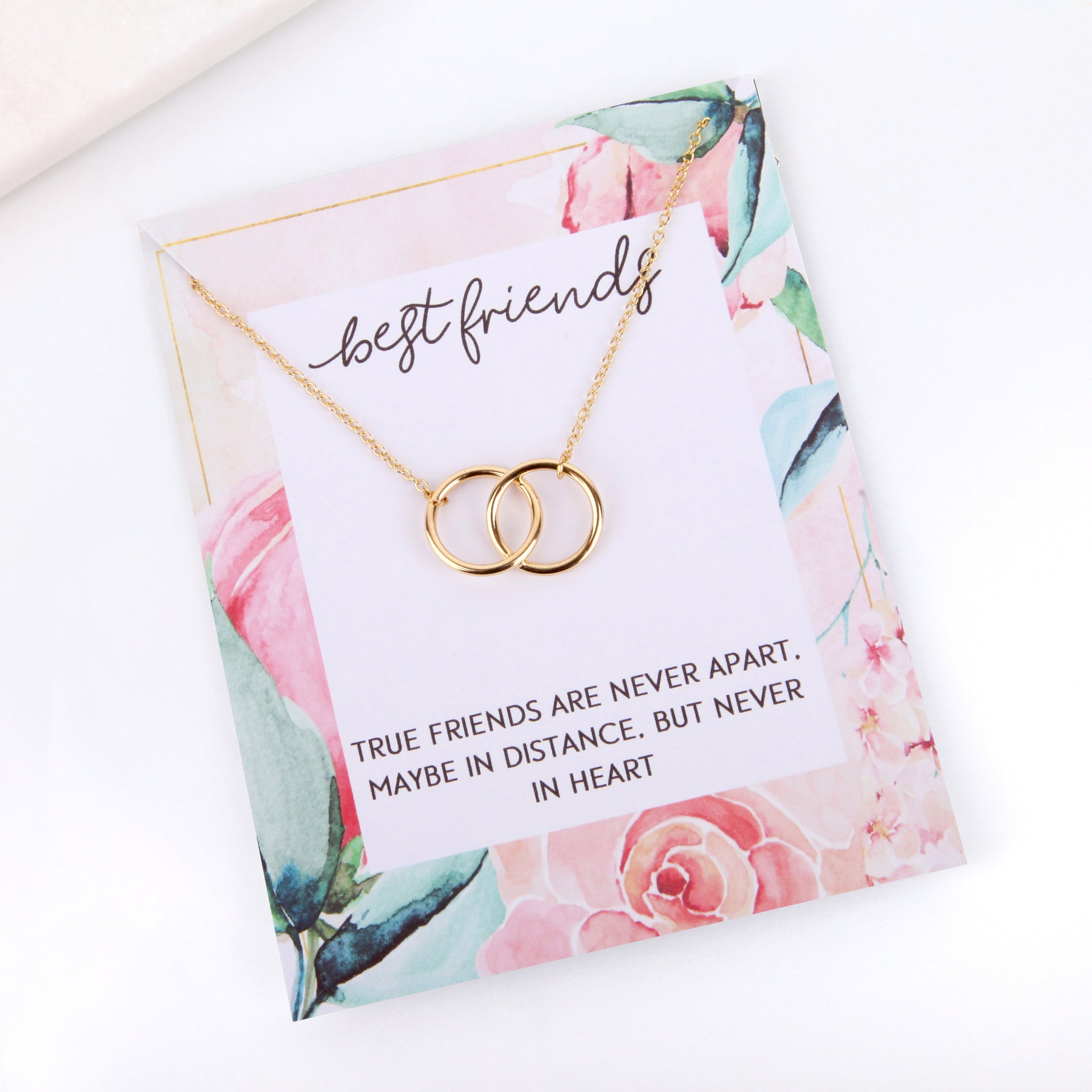 Personalised floral best friend message card necklace gift - Statement Made Jewellery