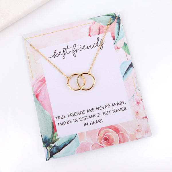 Personalised floral best friend message card necklace gift