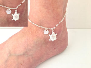 Silver personalised turtle Anklet - Statement Made Jewellery