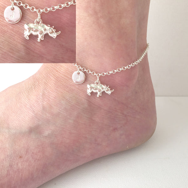 Silver personalised initial rhino Anklet - Statement Made Jewellery