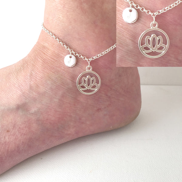 Silver personalised initial lotus flower Anklet - Statement Made Jewellery