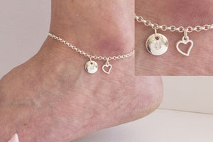 Silver personalised heart Anklet - Statement Made Jewellery