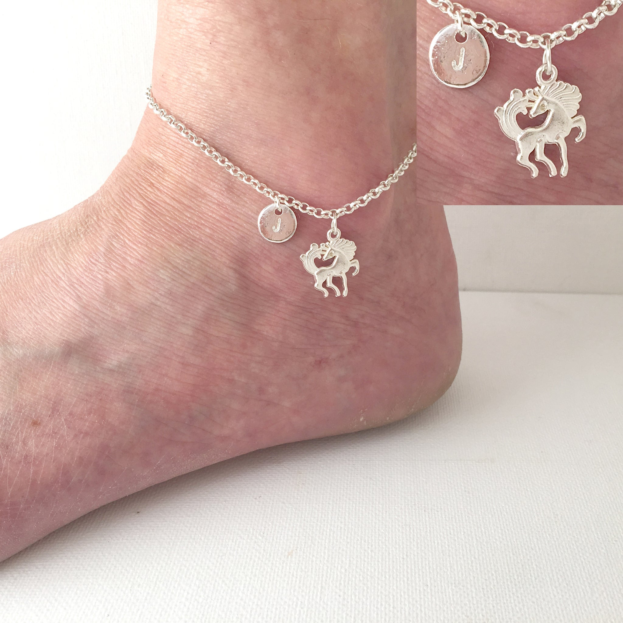 Silver personalised initial unicorn Anklet - Statement Made Jewellery