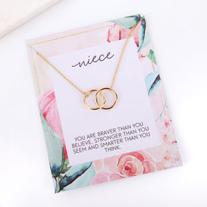 Personalised floral niece card necklace gift