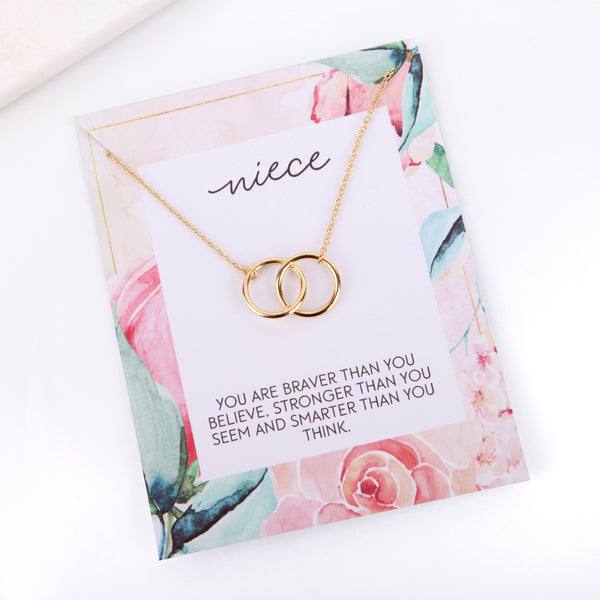 Personalised floral niece card necklace gift - Statement Made Jewellery
