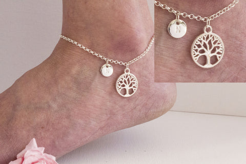 Silver personalised tree of life Anklet