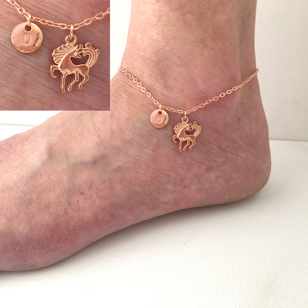 15d13a089 Rose gold personalised initial unicorn Anklet Ankle bracelet - Statement  Made Jewellery