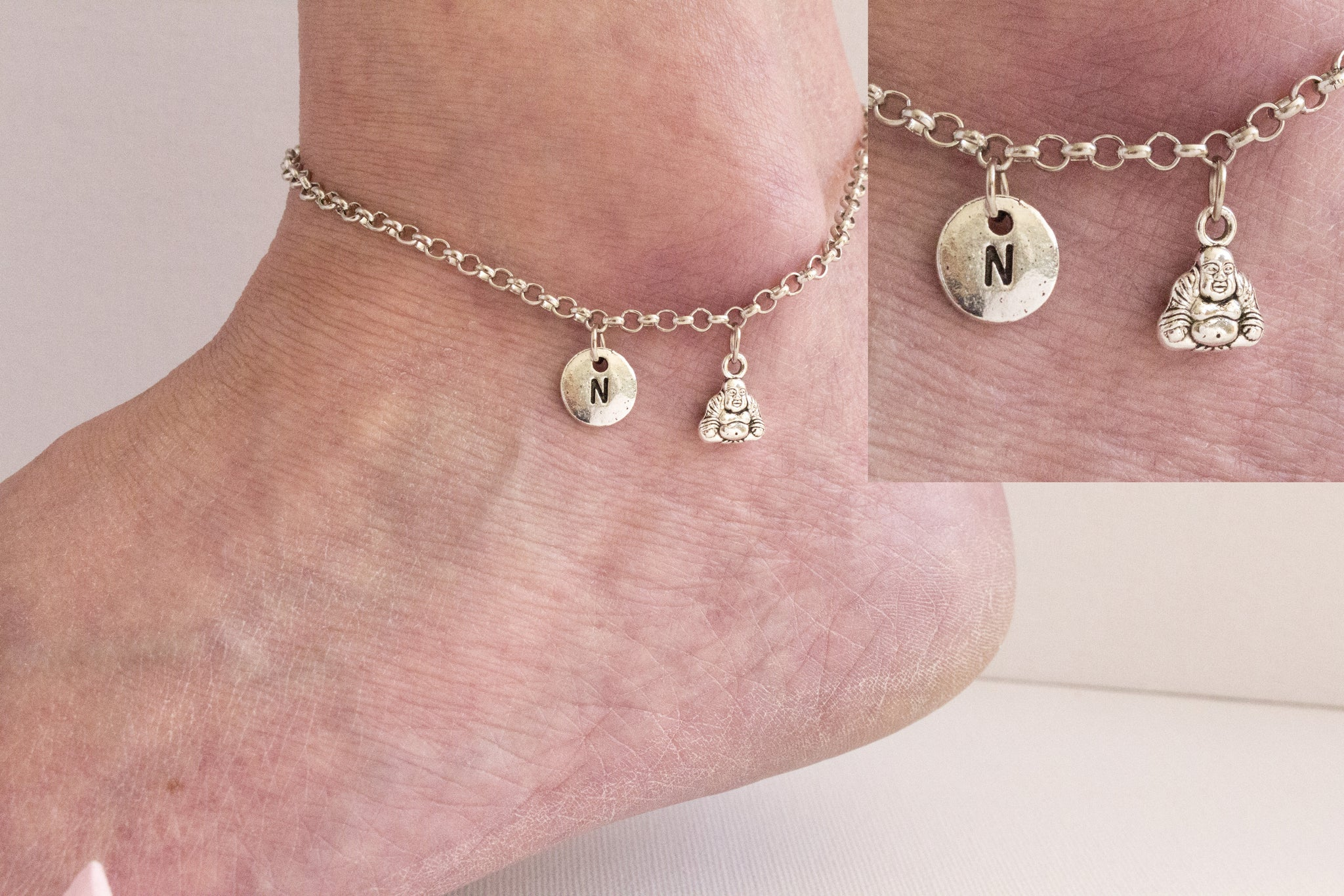 Tibetan silver personalised buddha Anklet - Statement Made Jewellery