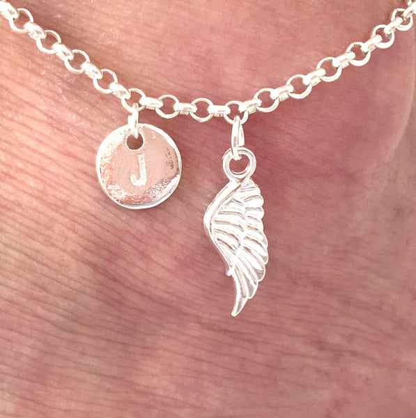 Silver personalised initial angel wing Anklet - Statement Made Jewellery