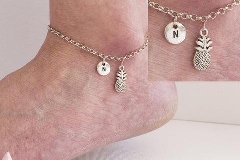 Tibetan silver personalised pineapple Anklet