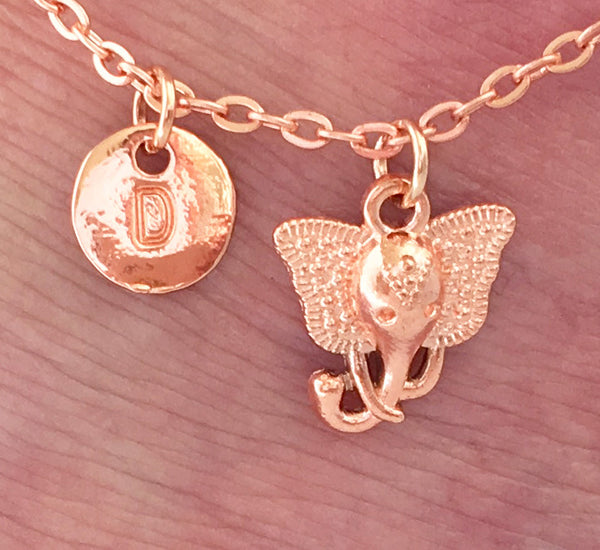 Rose gold personalised initial little elephant Anklet Ankle bracelet