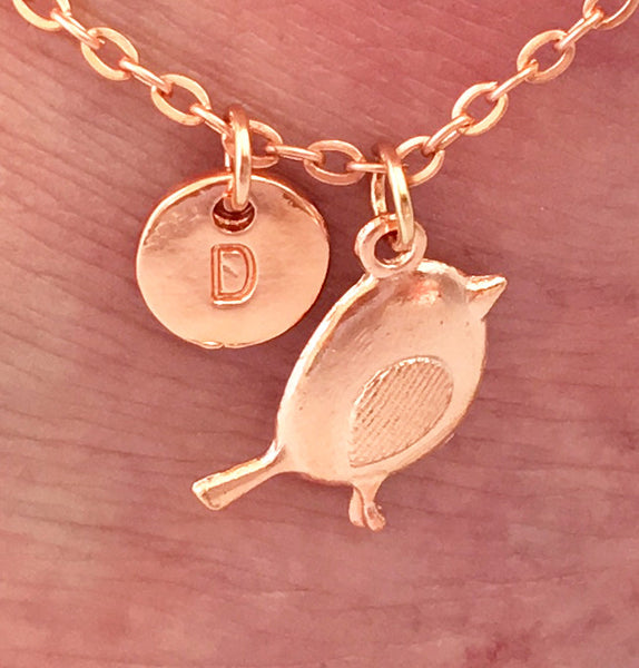 Rose gold personalised initial little bird Anklet Ankle bracelet - Statement Made Jewellery
