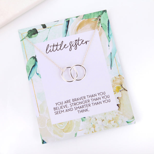 Personalised floral little sister card necklace gift