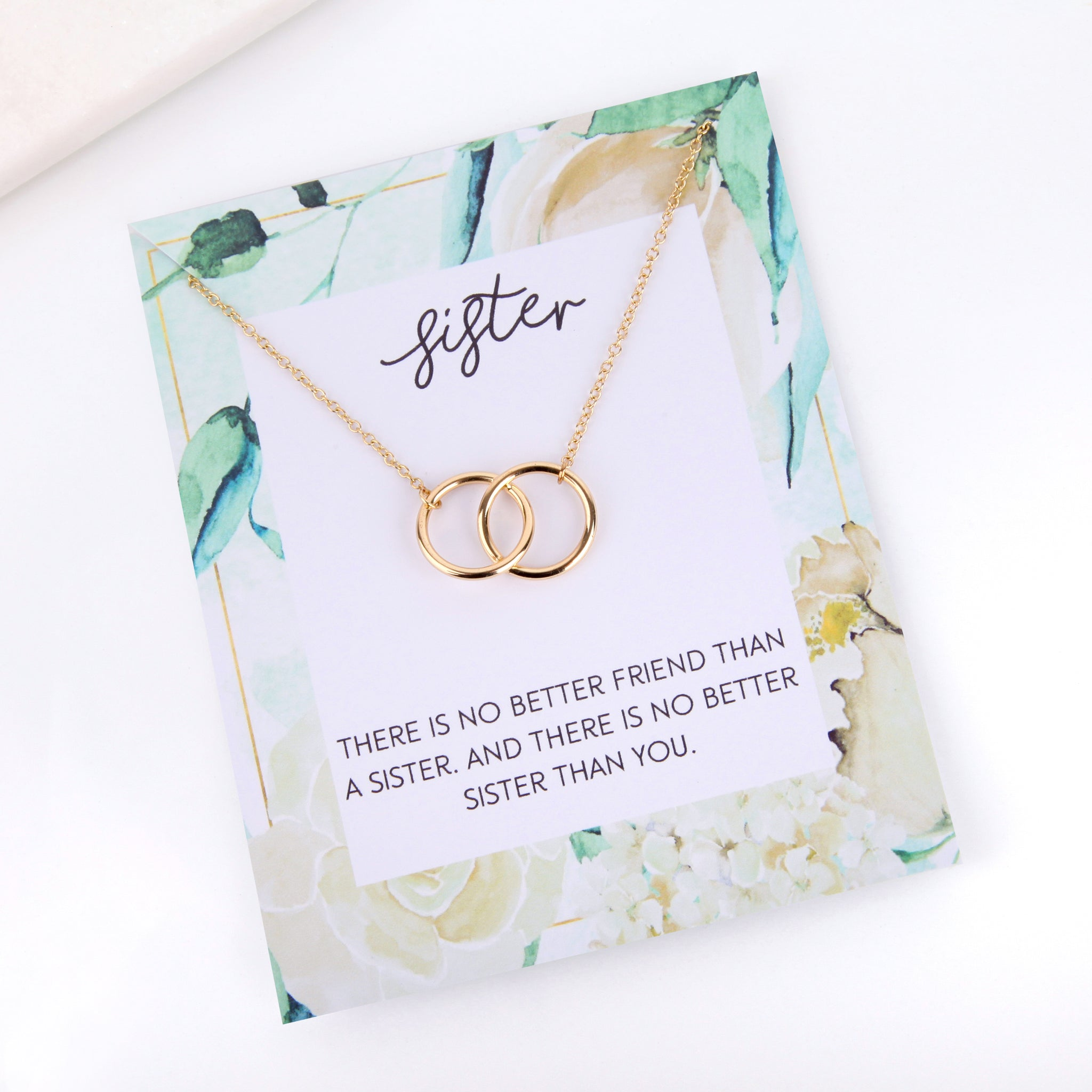 Personalised floral sister card necklace gift